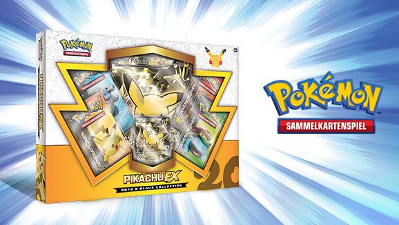 """Rote & Blaue Kollektion: Pikachu-<em>EX</em>"" des Pokémon-Sammelkartenspiels"