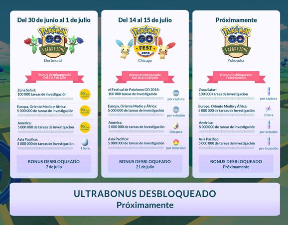 Calendario de los eventos y desafíos globales en la página oficial de Pokémon GO