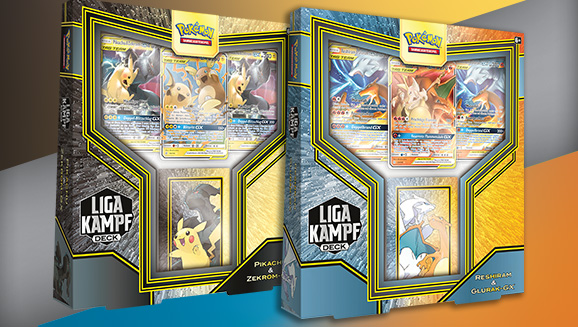 Liga-Kampfdecks <em>Pikachu & Zekrom-GX</em> und <em>Reshiram & Glurak-GX</em>