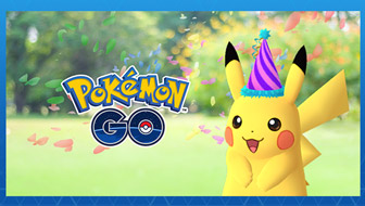 Pikachu feiert in Pokémon GO!