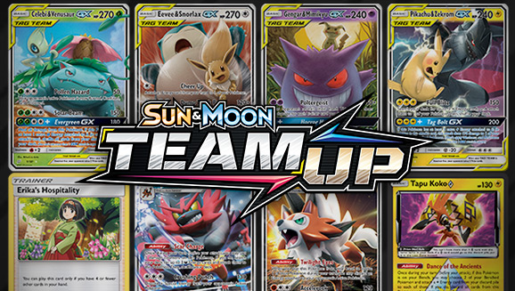 Browse the Cards of Sun & Moon—Team Up!