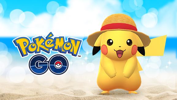 Pikachu met son chapeau de paille dans Pokémon GO