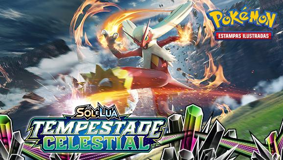 <em>Sol e Lua — Tempestade Celestial</em> do Pokémon Estampas Ilustradas