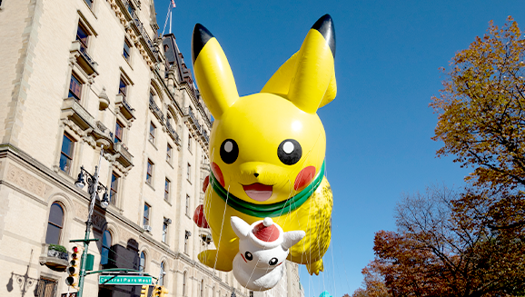 Pikachu Tours Among the Towers this Thanksgiving