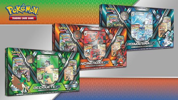 Decidueye-<em>GX</em>, Incineroar-<em>GX</em>, and Primarina-<em>GX</em> Premium Collections