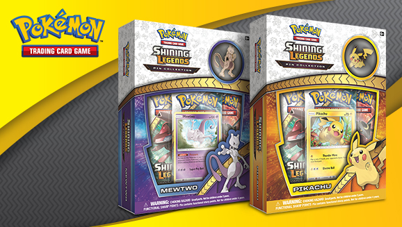 Pokémon TCG: <em>Shining Legends</em> Pin Collections—Pikachu and Mewtwo