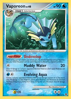 Vaporeon platinum rising rivals tcg card database - Carte pokemon aquali ...