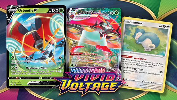 Pokemon TCG Vivid Voltage Orbeetle V Collection Box 4 Booster Packs